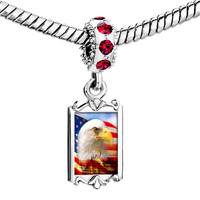 Charms Beads - red crystal dangle charming silver tone eagle usa national flag Image.