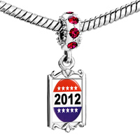 Charms Beads - red crystal dangle charming silver tone 2013  star Image.