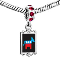 Charms Beads - red crystal dangle democrat donkey on black Image.