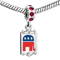 Charms Beads - red crystal dangle charming silver tone elephant Image.