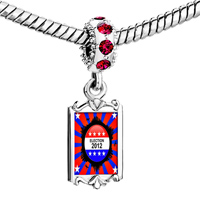 Charms Beads - red crystal dangle charming silver tone election  2013 Image.