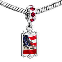 Charms Beads - red crystal dangle charming silver tone yes we can usa national flag Image.