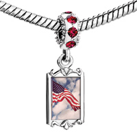Charms Beads - red crystal dangle charming silver tone flying usa national flag Image.