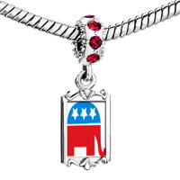 Charms Beads - red crystal dangle blue republican elephant Image.