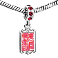 Charms Beads - red crystal dangle link charm fantastic word love Image.
