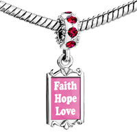 Charms Beads - red crystal dangle pink faith hope love Image.