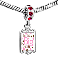 Charms Beads - red crystal dangle link charm fantastic i am the big sister Image.