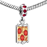 Charms Beads - red crystal dangle link charm fantastic hope love peace Image.