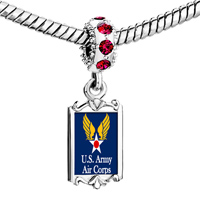 Charms Beads - red crystal dangle link charm fantastic us army air corps Image.