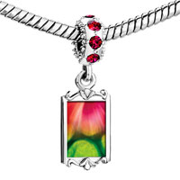 Charms Beads - red crystal dangle pink green fractal design Image.