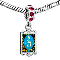 Charms Beads - red crystal dangle graffiti h Image.