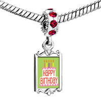 Charms Beads - red crystal dangle happy birthday green Image.