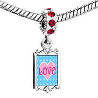 Charms Beads - red crystal dangle pink love heart Image.