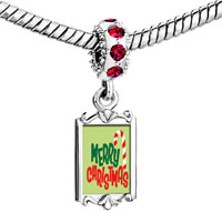 Charms Beads - red crystal dangle merry christmas cy cane Image.