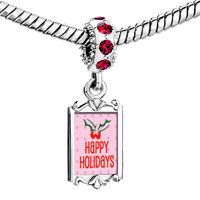 Charms Beads - red crystal dangle happy holidays holly Image.