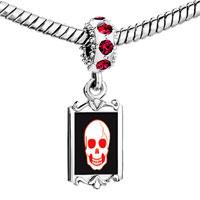 Charms Beads - red crystal dangle halloween skull bone Image.