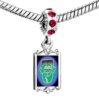 Charms Beads - red crystal dangle green face frankenstein Image.