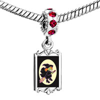 Charms Beads - red crystal dangle flying witch Image.