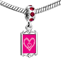 Charms Beads - red crystal dangle layered two hearts Image.