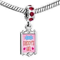 Charms Beads - red crystal dangle pink daddy' s girl Image.