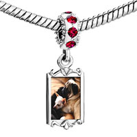 Charms Beads - red crystal dangle puppy pals Image.