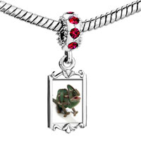 Charms Beads - red crystal dangle green iguana Image.