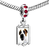 Charms Beads - red crystal dangle cute beagle Image.