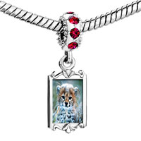 Charms Beads - red crystal dangle baby cheetah cub Image.