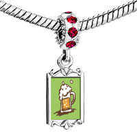 Charms Beads - red crystal dangle frothy beer Image.