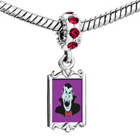 Charms Beads - red crystal dangle dracula Image.