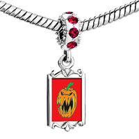 Charms Beads - red crystal dangle scary jack o lantern halloween pumpkin Image.
