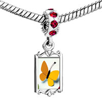 Charms Beads - red crystal dangle big yellow butterfly Image.