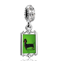 Clear Crystal Dangle Weiner Dog