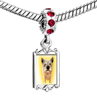 Charms Beads - red crystal dangle norwich terrier Image.