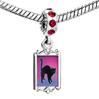 Charms Beads - red crystal dangle black cat arched back Image.