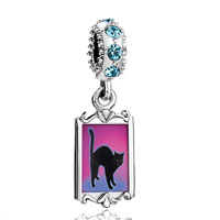 Aquamarine Crystal Dangle Black Cat Arched Back