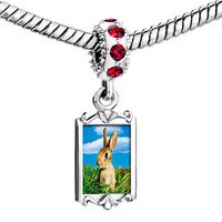 Charms Beads - red crystal dangle bunny in field Image.