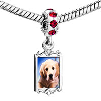 Charms Beads - red crystal dangle white puppy Image.