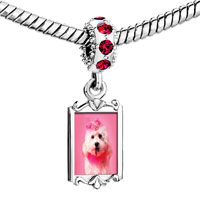 Charms Beads - red crystal dangle pink poodle Image.