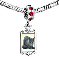 Charms Beads - red crystal dangle grey cat Image.