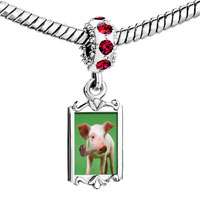 Charms Beads - red crystal dangle smoking pig Image.