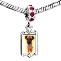 Charms Beads - red crystal dangle baby pug Image.