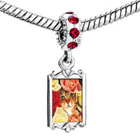 Charms Beads - red crystal dangle cat bouquet Image.