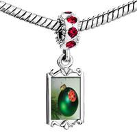 Charms Beads - red crystal dangle ladybug ornament Image.