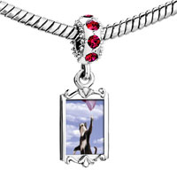 Charms Beads - red crystal dangle cat balloons Image.