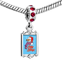 Charms Beads - red crystal dangle happy holidays snowman Image.
