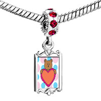 Charms Beads - red crystal dangle valentine teddy bear Image.