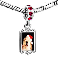 Charms Beads - red crystal dangle puppy santa Image.