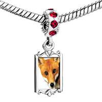 Charms Beads - red crystal dangle fox Image.