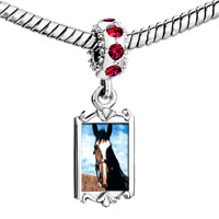 Charms Beads - ruby red swarovski crystal dangle equestrian horse face silver plated fit all brands charms bracelets Image.